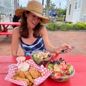 Jackie eating at Lobster Cooker in Freeport