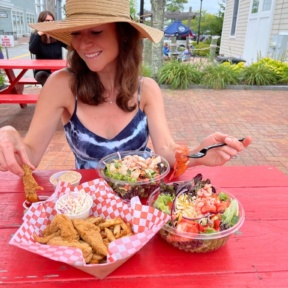 Jackie eating at Lobster Cooker in Freeport Maine