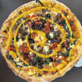 Gluten-free vegetable pizza from Wicked Restaurant
