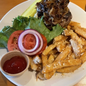 Gluten-free burger with truffle fries from Hobbs Tavern