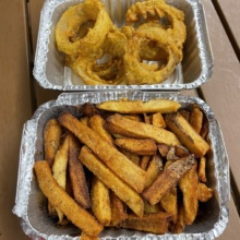 Gluten-free fries and onion rings from Boss Chick N Beer
