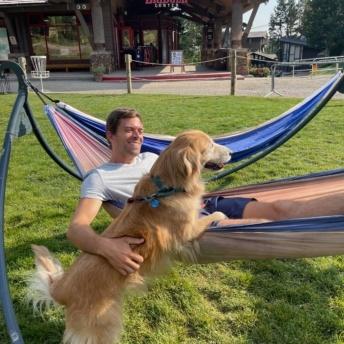 Brendan and Odie at Teton Village