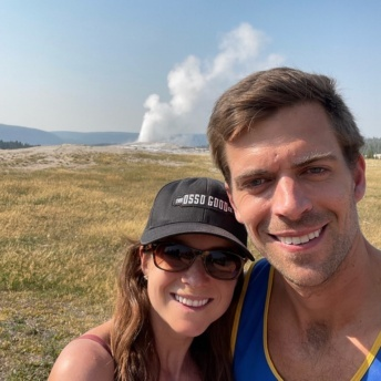 Jackie and Brendan in Yellowstone at Old Faiithful