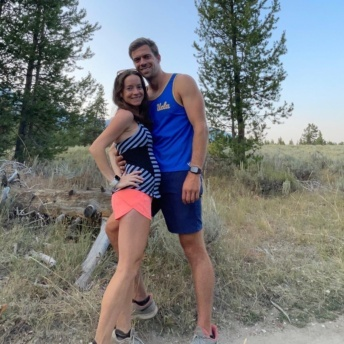 Jackie and Brendan hiking in the Grand Tetons while pregnant