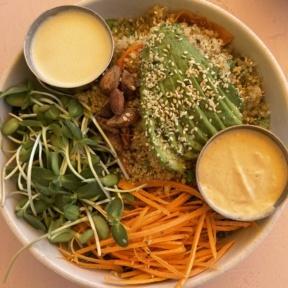 Gluten-free roasted veggie bowl from Glow Sun Valley
