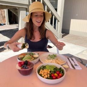 Jackie eating gluten-free food at Glow Sun Valley