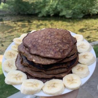 Three ingredient chocolate pancakes
