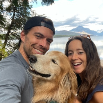 Jackie and Brendan and Odie in Glacier National Park Montana