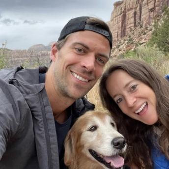 Jackie Brendan & Odie hiking in Utah