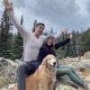 Jackie, Brendan, and Odie in Big Sky Montana!