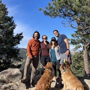 Jackie and Brendan hiking in Boulder with friends